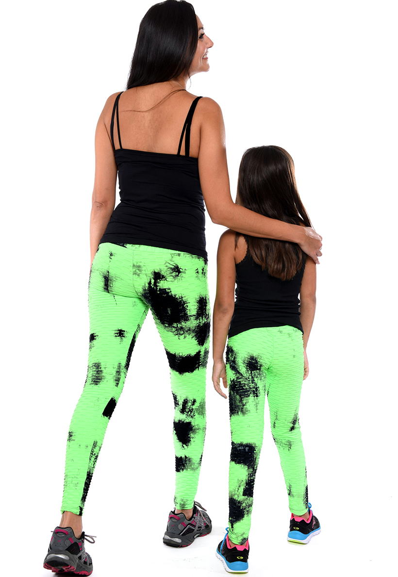 LF Mom And Daughter Green And Black Tie Die Bubble Leggings