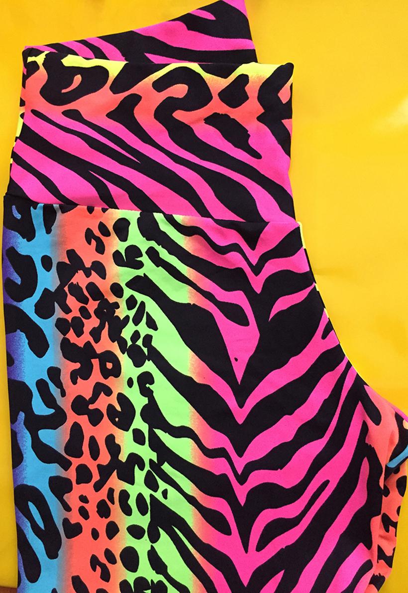 LF Mom And Daughter Neon Animal Leggings