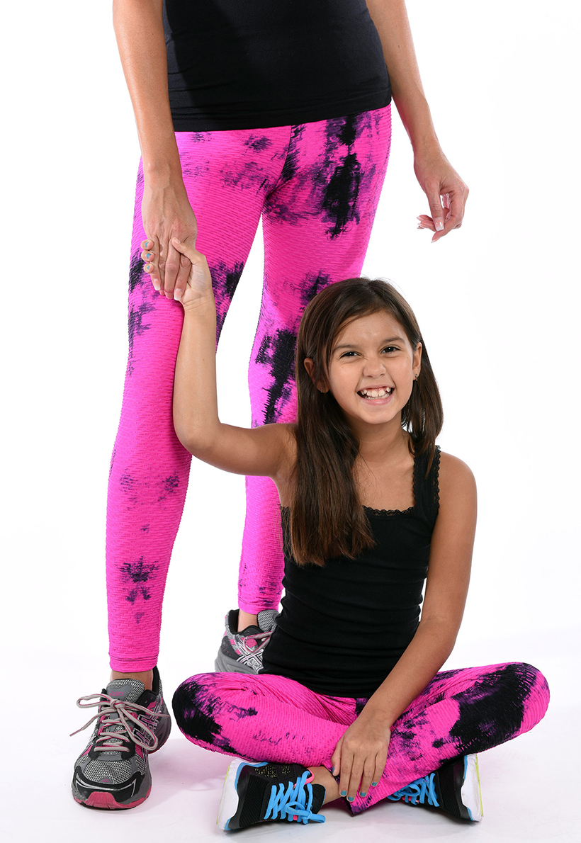 LF Mom And Daughter Pink And Black Tie Die Bubble Leggings