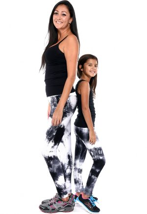 LF Mom And Daughter White And Black Tie Die Bubble Leggings
