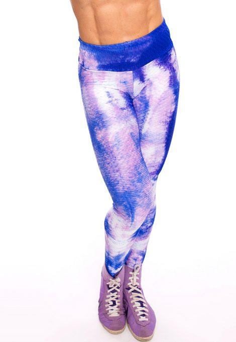LF Purple And Blue Tie Die Bubble Leggings