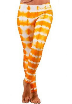 Protokolo Orange And White Tie Dye Leggings