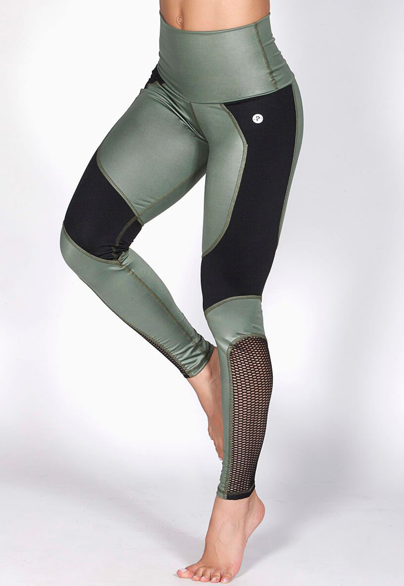 Protokolo Army Green Mesh Leggings