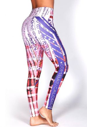 Protokolo Purple And White Leggings