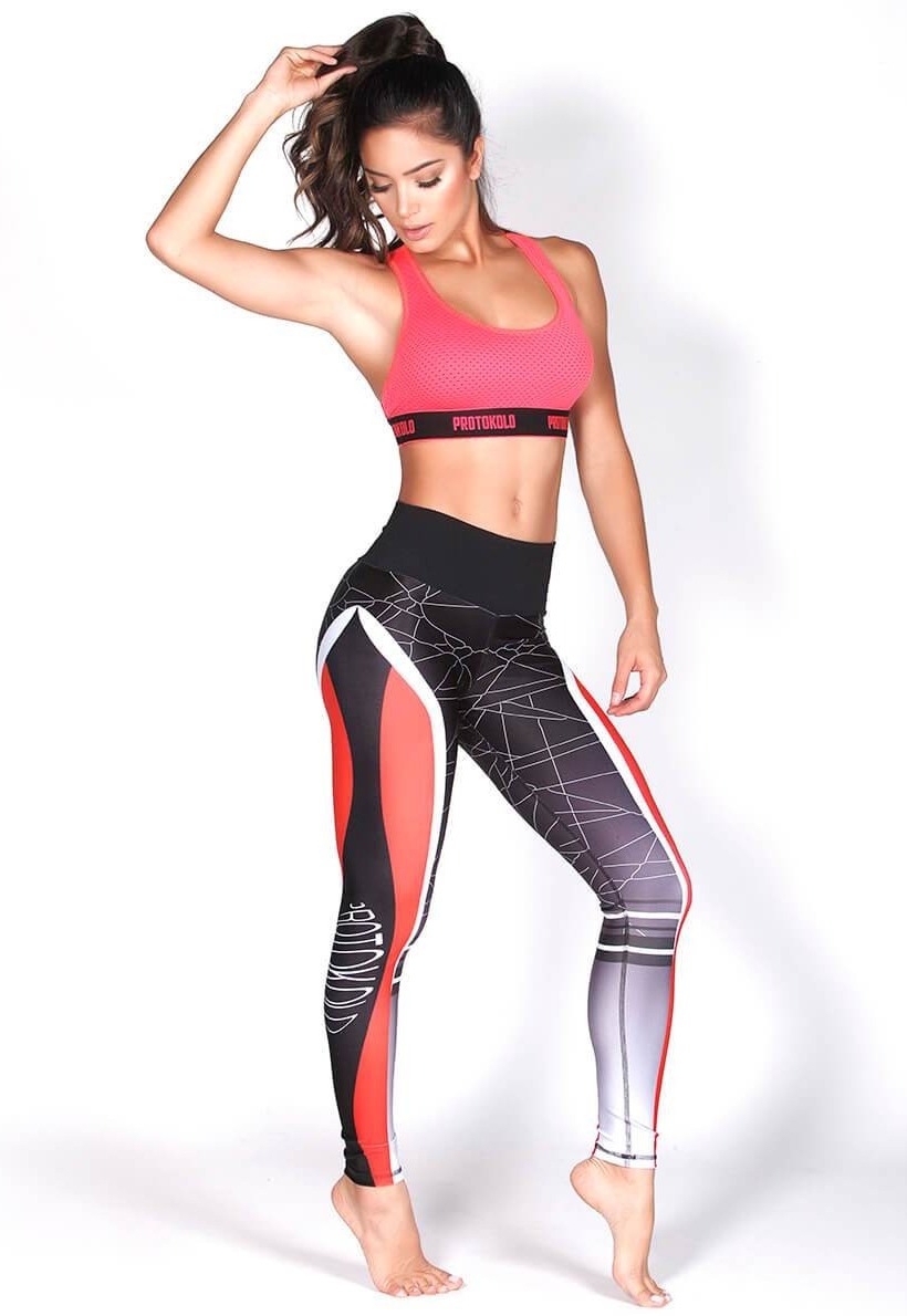 Protokolo Red And White Leggings