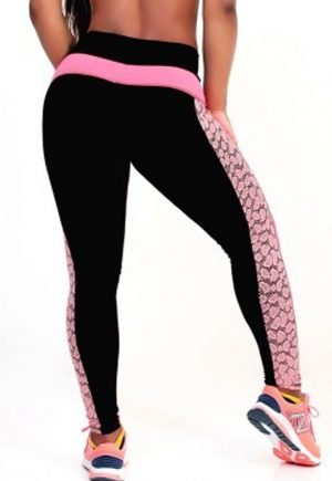 Protokolo Coral And Black Lace Leggings