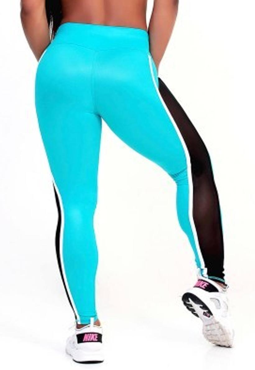 Protokolo Turquoise And Black Mesh Leggings