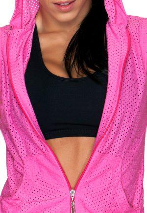 LF Mesh Sleeveless Hoodie Pink
