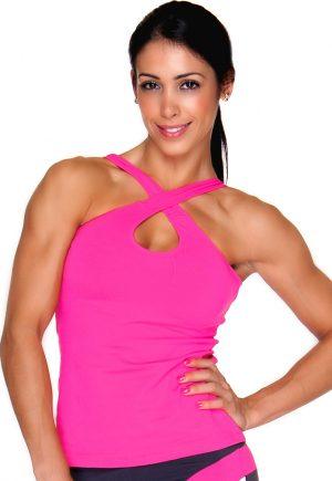 LF Criss Cross Bra Top Pink Long Top