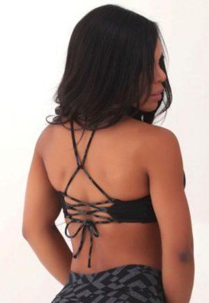 Protokolo Geometric Lace Up Back Bra Top Black